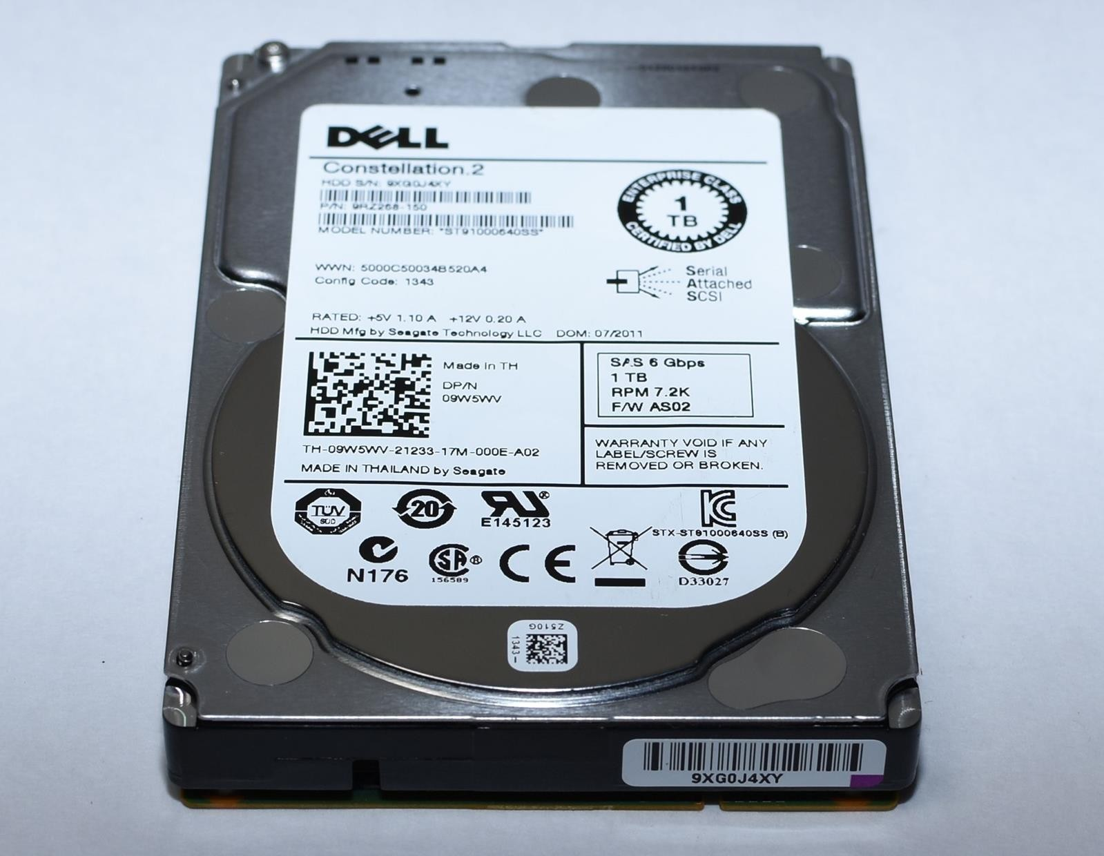 New Dell/SEAGATE 1TB CONSTELLATION 2.5 6Gb/s 7200 RPM SAS Tray Image